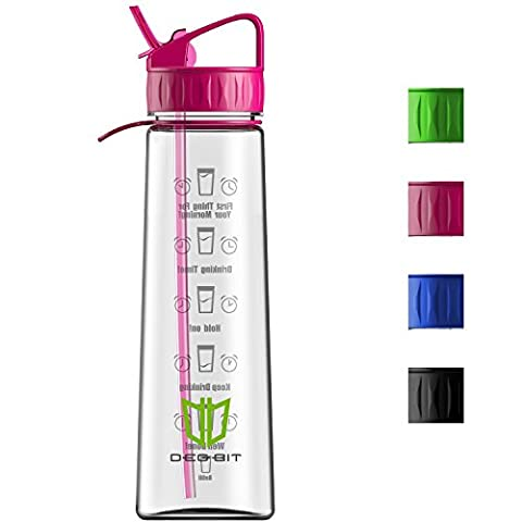 Water Bottle, Degbit [900 ml/ 32oz] BPA Free Sports Water Bottle with Straw + Time Markings, Non-Leak, Eco Friendly Durable Tritan Cycle Water Bottles Plastic drinks bottle for Outdoors and Camping