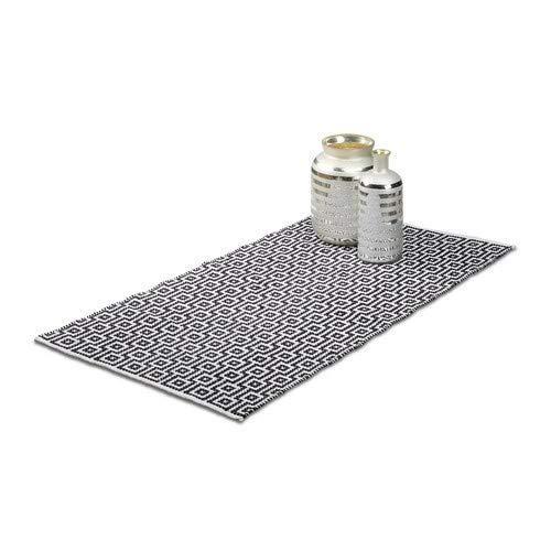 Relaxdays Teppich Läufer Flur 70 x 140 cm, Handmade, Designer Baumwollteppich modern, Kurzflor Flurteppich, schwarz-weiß