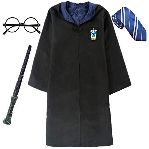 IWFREE Harry Potter Gryffindor Hufflepuff Ravenclaw Slytherin Kostüm Umhang Set Kinder Erwachsene Cosplay Outfit Set Zauberstab Krawatte Schal Brille Karneval Verkleidung Fasching ()