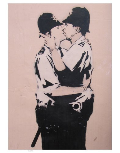 Iposters Banksy Druck Polizei Kissing - 11 X 14 (35.5 X 28)