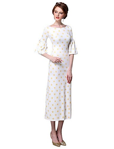 PU&PU Robe Aux femmes Moulante Sexy,Points Polka Col Arrondi Midi Polyester WHITE-M
