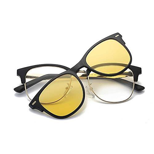Yiph-Sunglass Sonnenbrillen Mode Rivet Full Frame Retro Sonnenbrille mit austauschbaren Gläsern für Männer, Frauen, farbige Linse unzerbrechlicher TR90-Rahmen Clip-on-UV-Schutz (Farbe : Gelb)