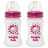 NAUGHTY KIDZ Premium Natural Wide Neck Feeding BOTTLE-250ML+250ML-COMBO of 2 BOOTLES (PINK-250ML+PINK-250ML)