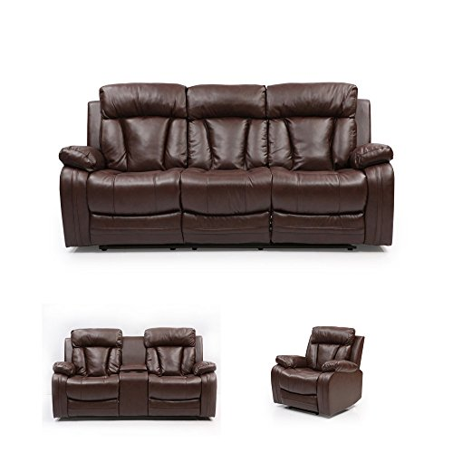 Evok Magna Three Seater Recliner (Matte Finish, Dark Brown)