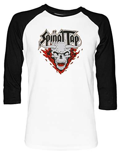 Spinal Tap Devil Unisex Baseball T-Shirt 2/3 Ärmel Herren Damen Weiß Schwarz (Tap Shirt Spinal T)