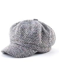 OTLC Sombrero Otoño Invierno Moda Newsboy Caps Mujeres y Hombres Color  Mezclado Sombreros octagonales de Punto ea74d467205