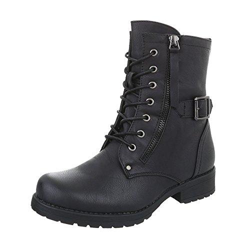 Bikerbottes Chaussures Plat Bottes Ital Design femme et bottines Noir Western YxpqRrYTw