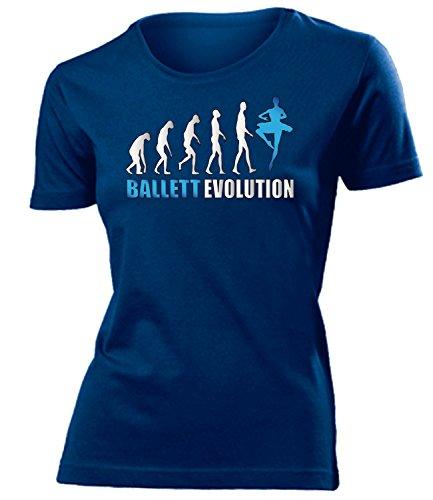 Ballett Evolution 2017 Ballerina Tanzsport Damen Fun-T-Shirts Navy Aufdruck Blau S