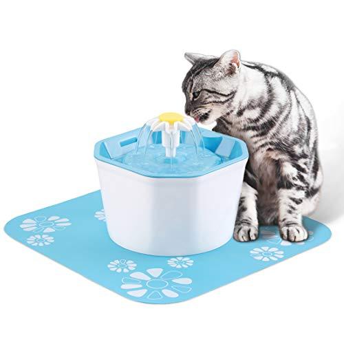 Hensych Automatischer Katzen-Hundewasserbrunnen-elektrischer Haustier-Trinker-Schüssel-Spender, achteckige Form 1.6L mit super leiser Pumpe, austauschbarem Filter und Silikon-Trinkunterlage