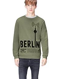 FIND Men's Sweatshirt in Berlin Print Crew Neck