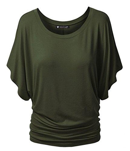 Smile YKK T-shirt Manches Courte Femme Chemise Top Haut Blouse Eté Col Rond Casual Amincissant Vert
