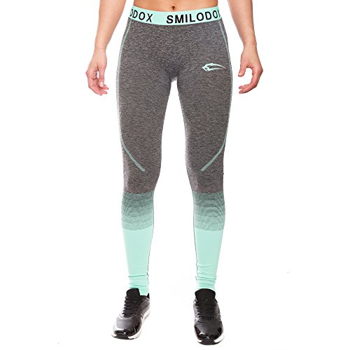 Sport Leggings Damen | Seamless - Figurformende Leggins für Sport Gym Training & Freizeit | Sporthose | Workout Trainingshose | Shape Tights Laufhose | SMILODOX, Größe:L, Farbe:Anthrazit/Mint - 2