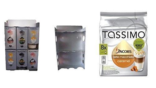 T-Disc Dispenser, Halter für 6 T-Disc Kartons von James Premium + Aktion 1 Pack Tassimo Jacobs Krönung Caramel Macchiato zur Montage an der Wand geeignet und auch standfest da kein Plastik sondern Edelstahl mit Ablagefach und seitliche Zubehörschächte