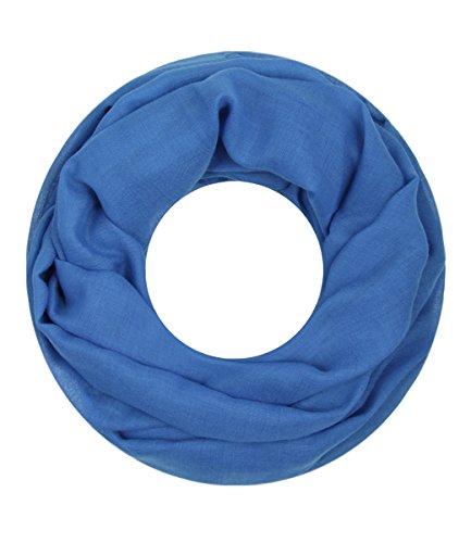 Majea Loop Cary Basic Schal Tuch Damen-schal Schlauchschal Rundschal Halstücher uni unifarben Loopschal einfarbig (blau)