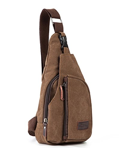 Casual Crossbody Shoulder Triangle Daypack / Travel Hobo Style Backpack / Outdoor Sports Sling Shoulder Bag for Men (Coffee Brown)