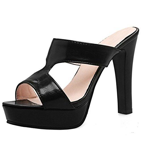 RizaBina Femmes Mode Bloc Mules Sandales Talons Hauts Peep Toe Plateforme Chaussures Noir