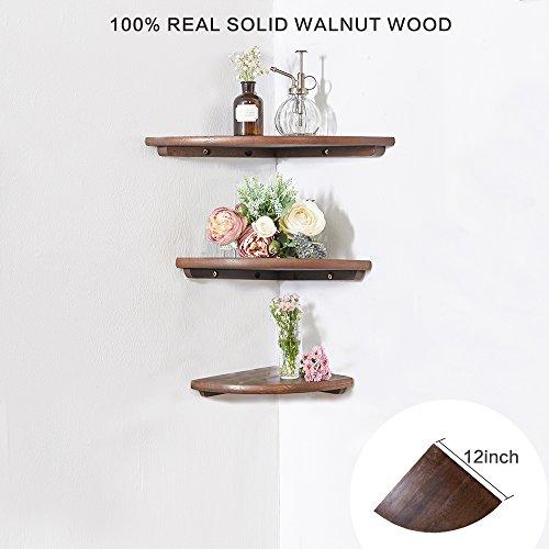 Eckregal aus Holz 1 Stück, runde Enden, walnuss, Bücherregal, Ausstellungsregal, für Schlafzimmer Massivholz ,Radius 30 cm -