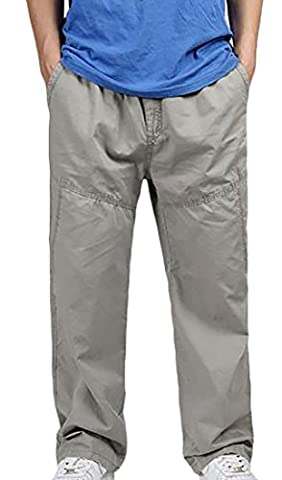 Fulok Mens Plus Size Thin Sport Solid Outdoor Drawstring Pants 6X-Large Khaki