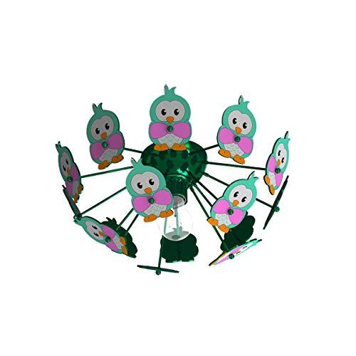 Plafonnier Enfant Hibou Viki 2 Vert En Métal
