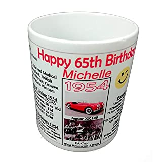 Happy 65th BIRTHDAY MUG, 1954 - Interesting Gift - All About the Year, News, Costs, Music, Movies, Facts, etc.