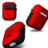 TianranRT Coque de protection en silicone pour Apple Airpods avec porte-clé, rouge