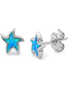 Blue Fire Opal Seestern 925Sterling Silber Ohrstecker für Frauen und Mädchen