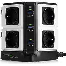 BESTEK Regleta Vertical de 8 Tomas y 6 Puertos de USB, Regleta de 1500J Surge Protección, Regleta de 3600W/16A para