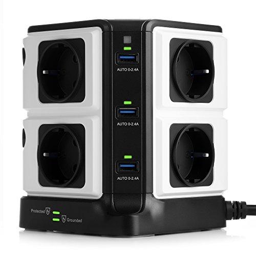 BESTEK Regleta Enchufe Vertical de 8 Tomas y 6 Puertos de USB, Regleta de 1500J Surge Protección, Regleta de 3600W/16A