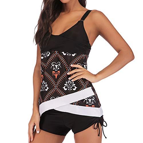 QingJiu Damen Übergröße drucken Tankini Schwimmanzug Badeanzug Beachwear Gepolsterte Top Badebekleidung Plus Size Print Shorts (XX-Large, Schwarz)