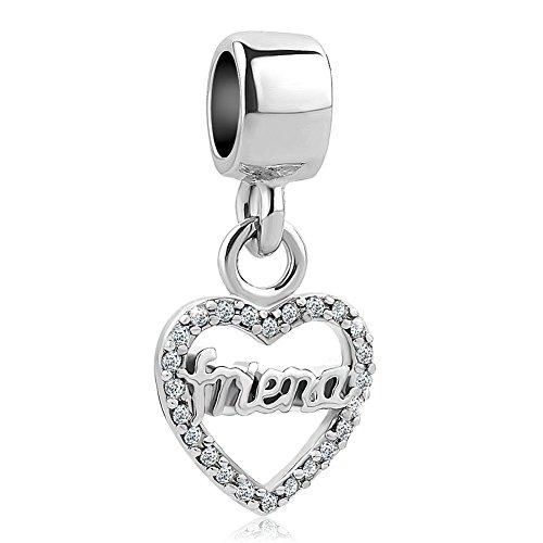 Uniqueen charm per braccialetti con perline di cristallo, motivo cuore amore e rame, cod. uq_dpc_my879
