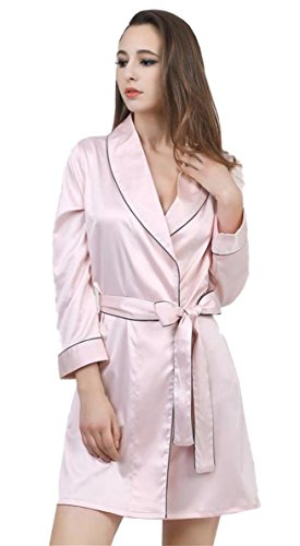 Pique V-ausschnitt Jersey (Honeystore Damen Morgenmantel Pyjama Bademantel Satin Schlafanzug Kimono Robe Nachtwäsche V-Ausschnitt Babydoll Rosa XL)
