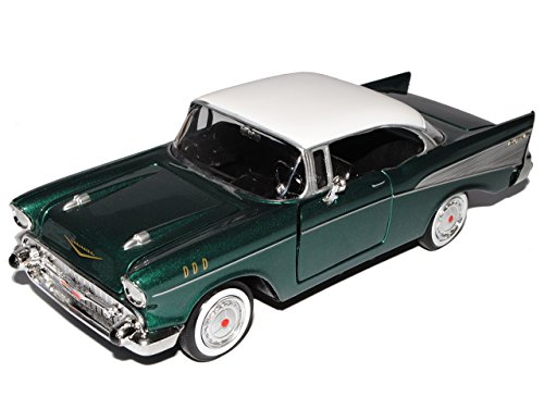 Collection 711 MM73228GR_OHNE Chevrolet Chevy Bel Air 1957 Grün Coupe Oldtimer 1/24 Motormax Modellauto Modell Auto