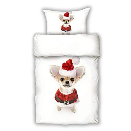 Schwanberg Bettwäsche Christmas Cap Animal Weiß Weihnachten Hund Renforcé Softtouch Qualität, Größe:135x200 cm + 80x80 cm (Großer Outfits Xmas Hund)