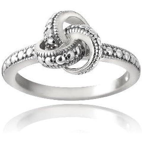 Plata esterlina acento anillo de compromiso del diamante del nudo de amor
