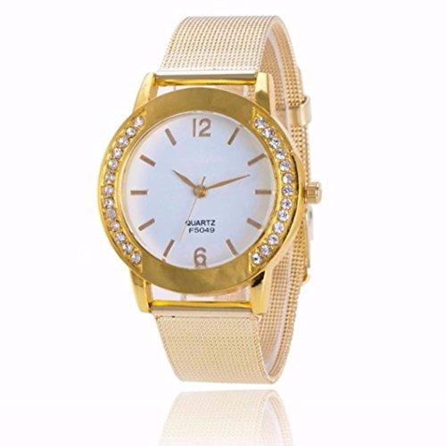 Sonnena Damen Armbanduhren, Mode Kristall Analoge Quarz Armbanduhr Mesh Metallband Damenuhr Uhren Edelstahl Strass Zifferblatt Armband Uhr Casual Armbanduhren (Gold)