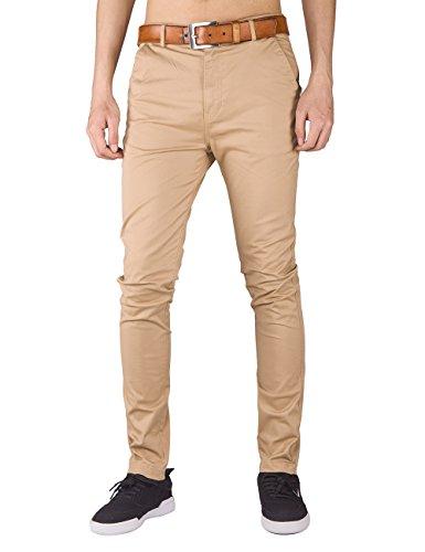 Italy Morn Herren Chino Hose Slim fit Stoff hose Chinohose Pants M Khaki (Khaki Baumwoll-stretch)