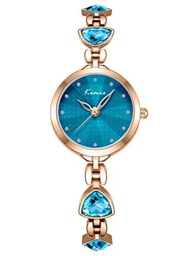 Alienwork Montre Femme Fille Bracelet métal Acier Inoxydable Or Rose Analogique Quartz Turquoise Imperméable Strass élégant