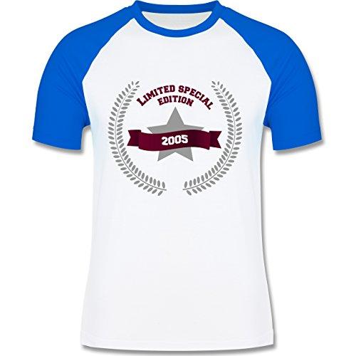 Geburtstag - 2005 Limited Special Edition - zweifarbiges Baseballshirt für Männer Weiß/Royalblau