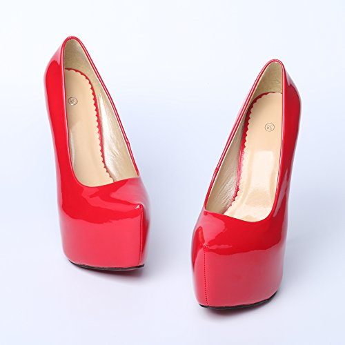 Talon Aiguille Plate-forme Cachée En Métal Chaussures À Talons Hauts Femmes Femmes Rouge
