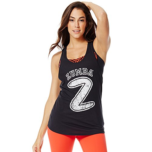 Zumba Fitness Hangin' Loose Bubble Tank Canotta Sportiva, Nero (Back to Black), XXL
