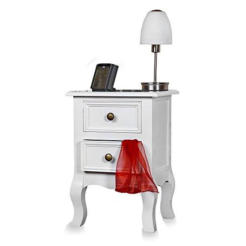 Melko Nachtschrank Landhaus-Kommode Weiß 49x34,5x30 cm Nachttisch Shabby Nachtkonsole