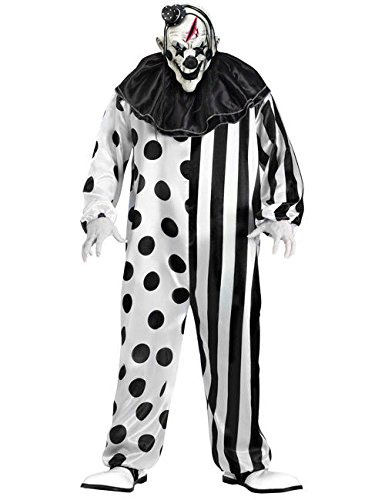KULTFAKTOR GmbH Horror-Clownkostüm für Herren Halloween-Kostüm schwarz-Weiss M / L