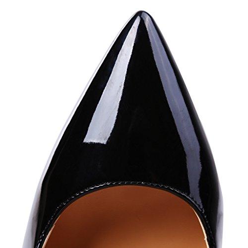 Guoar - Scarpe chiuse Donna (Schwarz Lackleder)