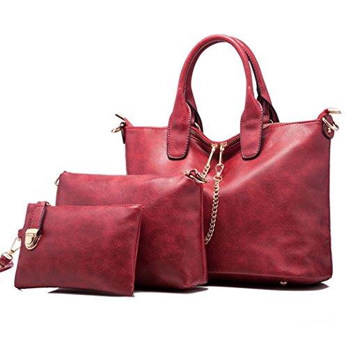Le donne della borsa a tracolla in pelle Messenger Bag Satchel Purse Tote,Fami (Rosso)