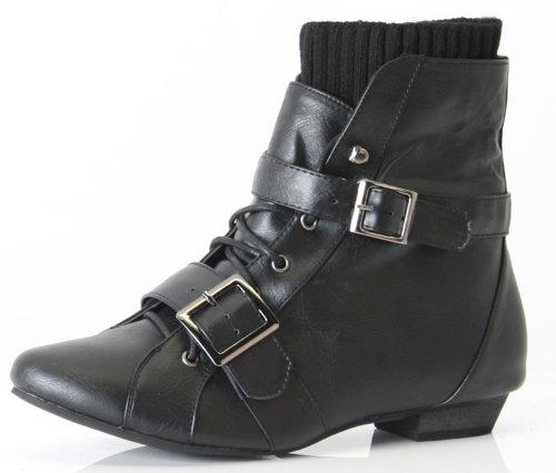 shoefashionista - Enfants Filles Bottes a Lacets Vintage Chaussures Plates Bottines Style D - Noir