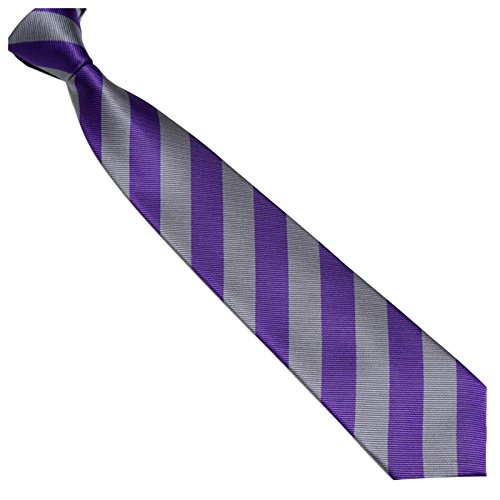 Schmale Krawatte 7cm Streifen College Design Violett Grau gestreift - Binder Gewebte Microfaser Seiden-Optik - Herrenkrawatte z Anzug - Herren Schlips (Seide Krawatte Cambridge Gewebte)