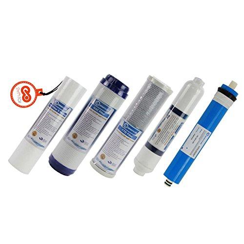 5 Stufen Wasserfilter Ersatz Set mit 50 GPD Membran für RO Osmose Umkehrosmose Filtersatz Set -