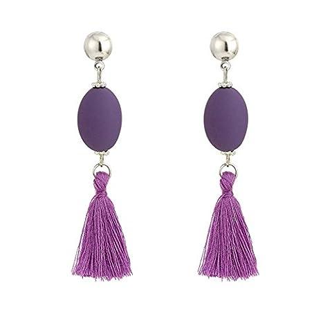 Pu Ran Femmes Bohemia Oval Rubber Drop Tassels Dangle Stud Earrings - Purple