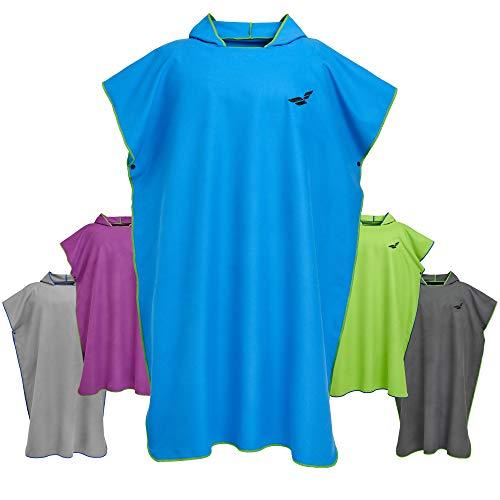 Fit-Flip Albornoz con Capucha para Cambiarse, Extremadamente Ligero y de Secado rápido Color: Azul Verde | Tamaño: M