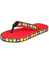 Jodhpuri Lates New Design Red Flip Slipper For Ladies